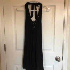 Sleek black halter lace up dress.